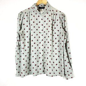 Vintage Gray Sheer Red Patterned Button Up Blouse